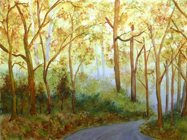 Aquarelle Forêt d'automne