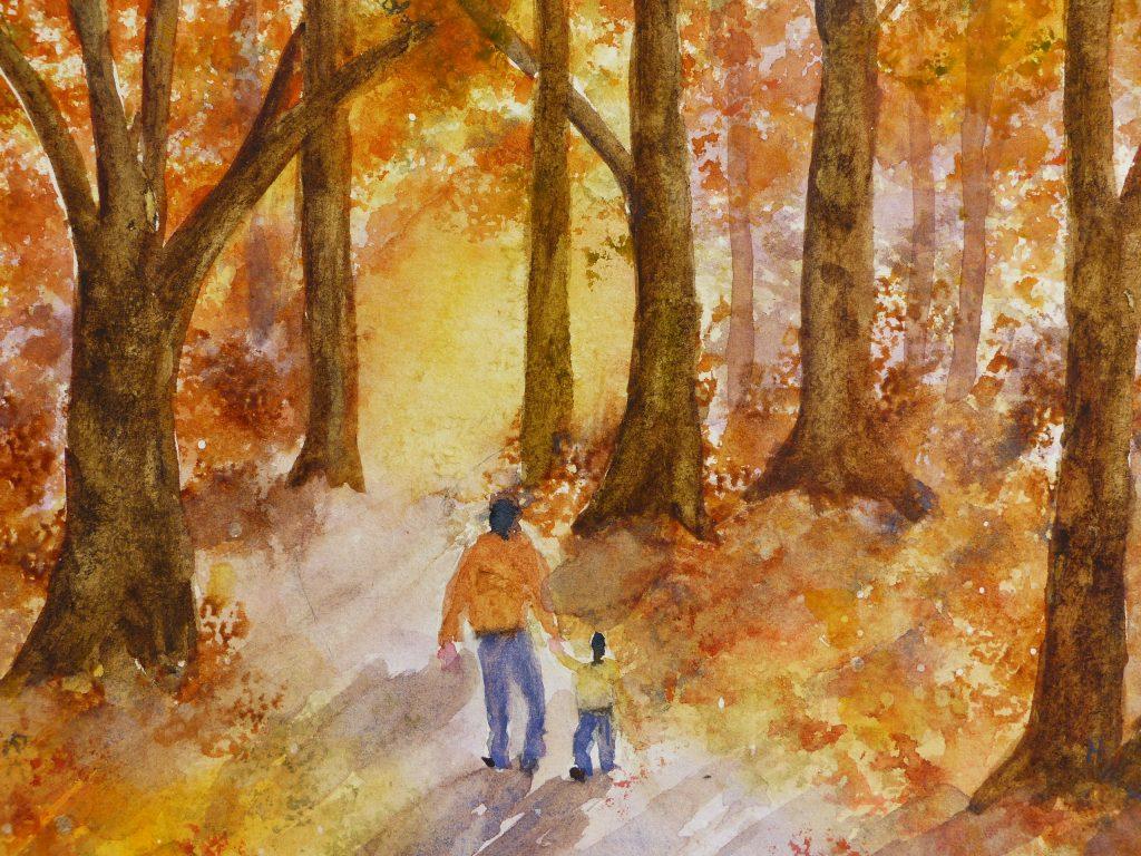 Aquarelle : Forêt à l'automne (détail)