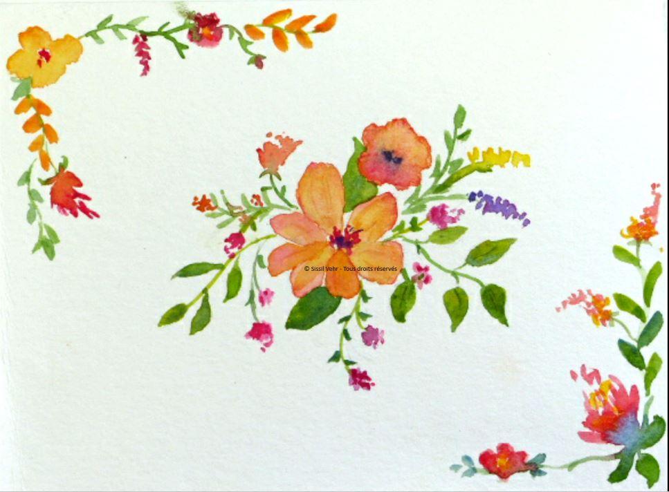 Aquarelle : Carte fleurs modèle 2