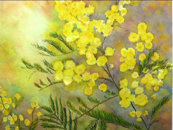 Aquarelle : un brin de mimosa