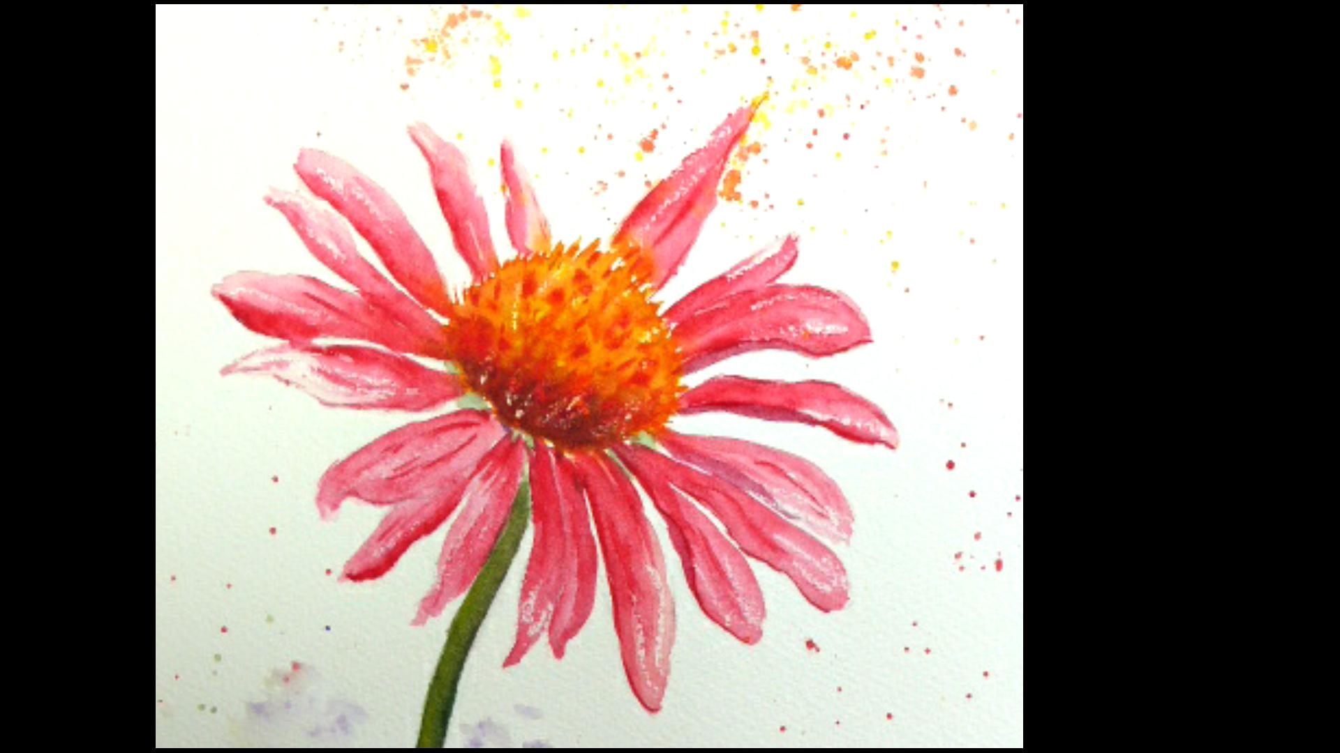 Aquarelle : Fleur rose