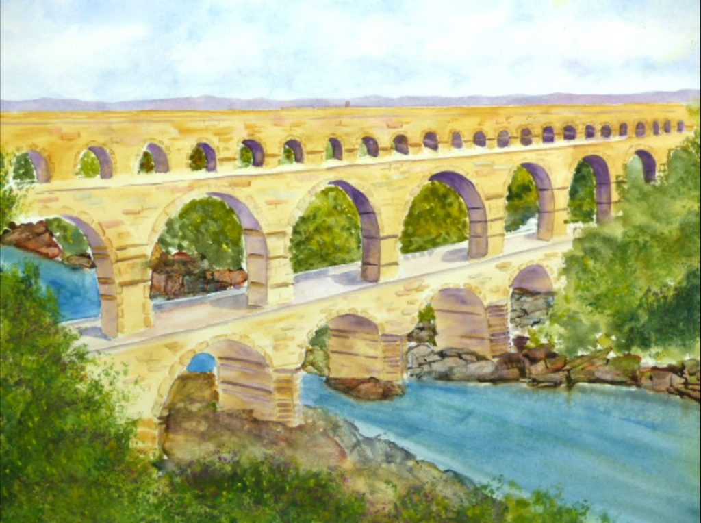 aquarelle Pont du Gard