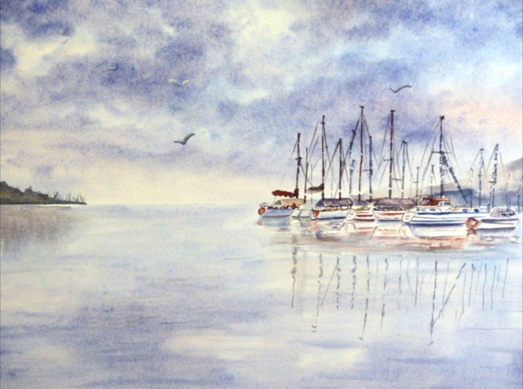 Aquarelle lac de Constance