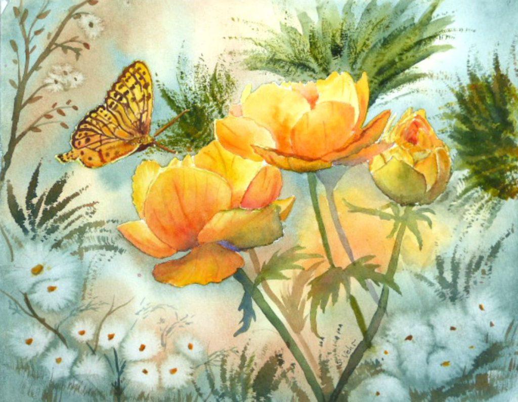 aquarelle D'ailes et d'or
