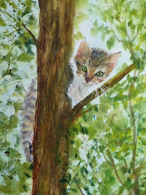 aquarelle chaton dans un arbre composition