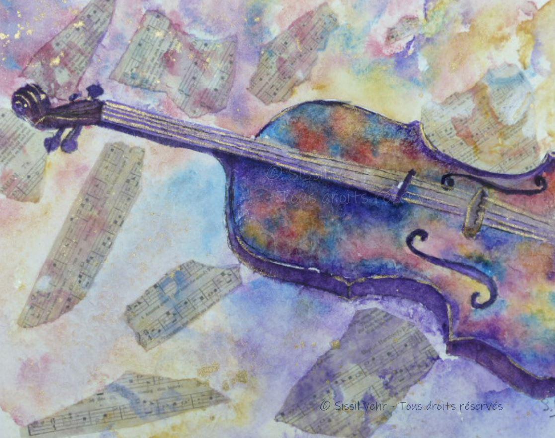 Mixed media : Violon en fête