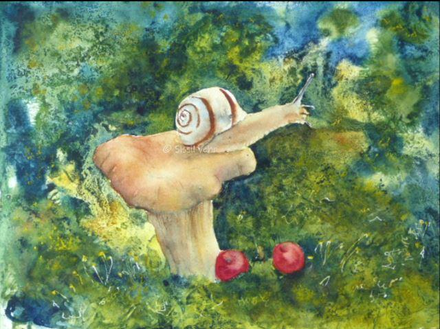 Aquarelle : Oscar l'escargot