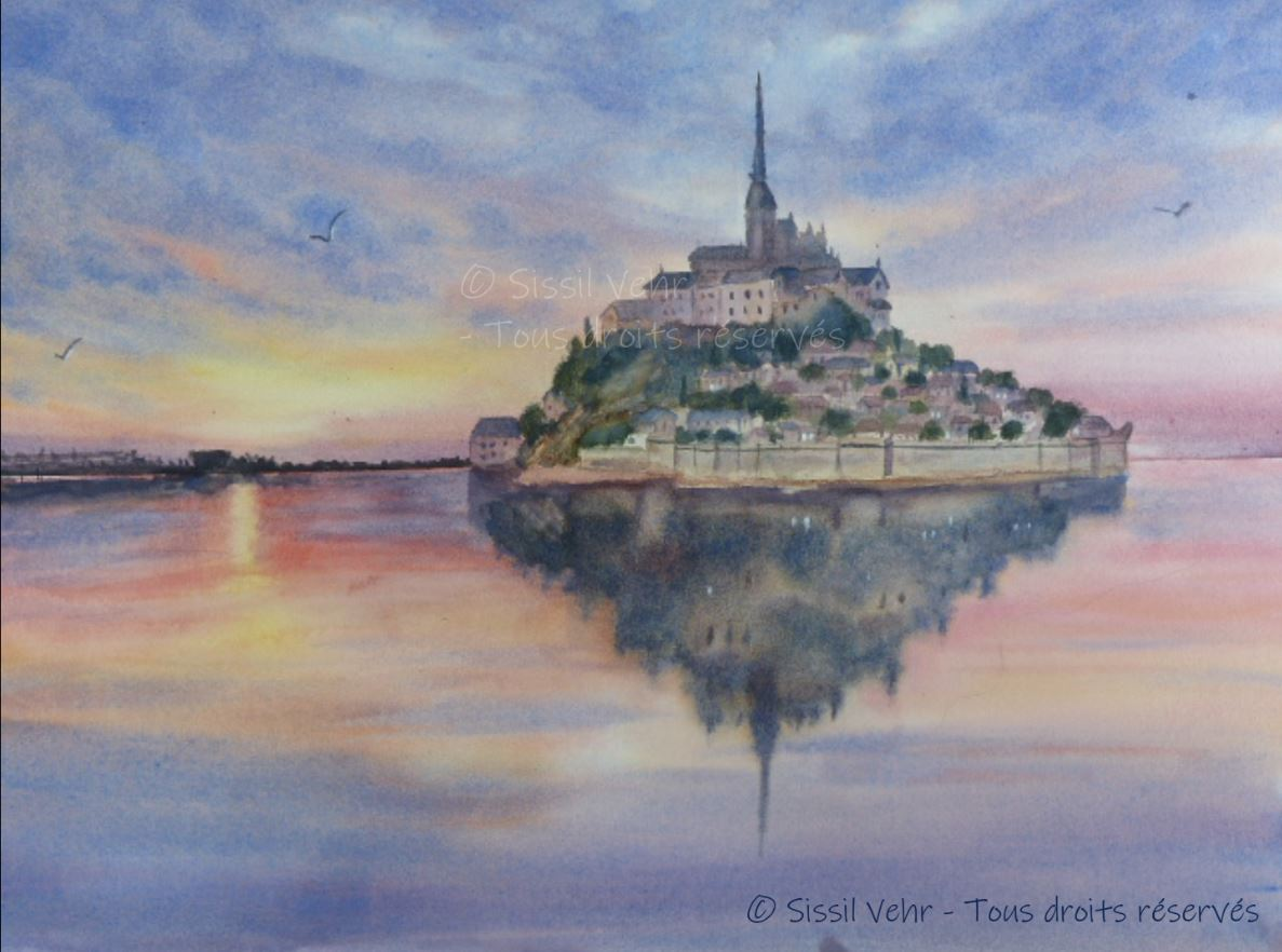 Aquarelle : Mont Saint Michel