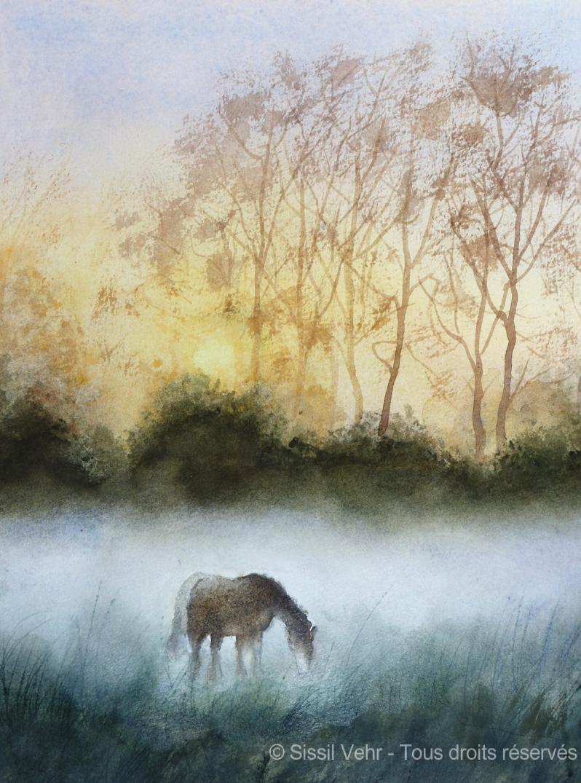 Aquarelle : Brume au petit matin