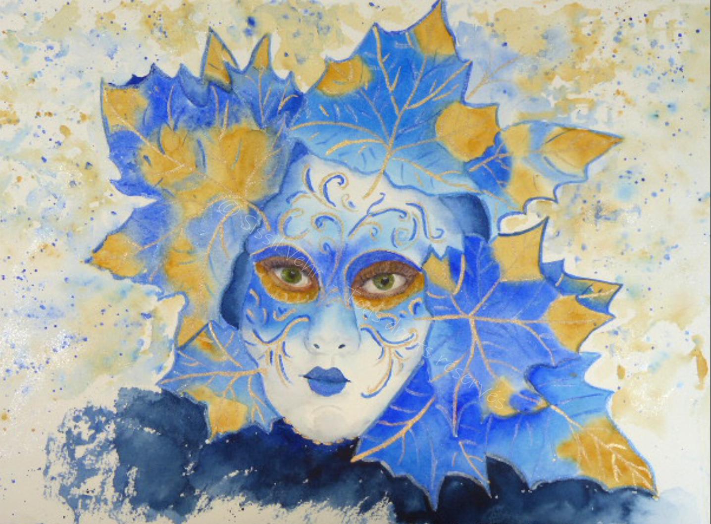 Aquarelle : Carnaval de Venise : masque bleu