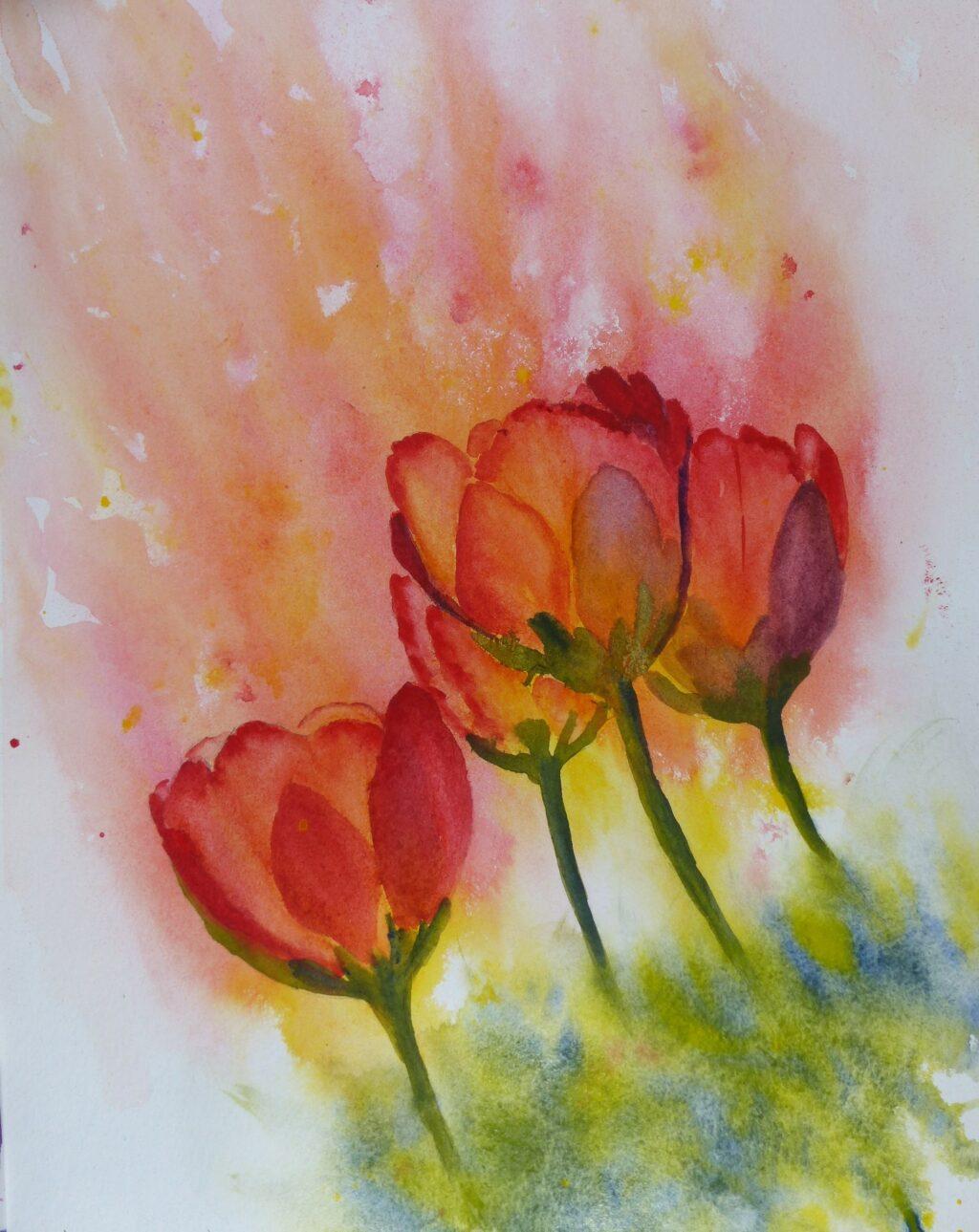 Aquarelle : Tulipes