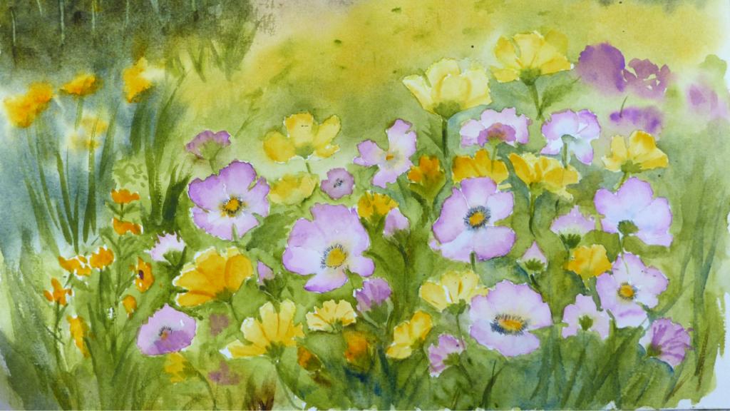 Aquarelle : La vie en rose ... et jaune (détail)