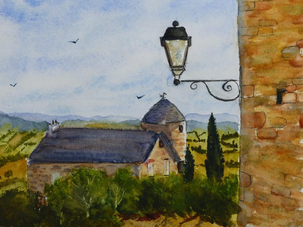 Encre et aquarelle : Paysage du Limousin