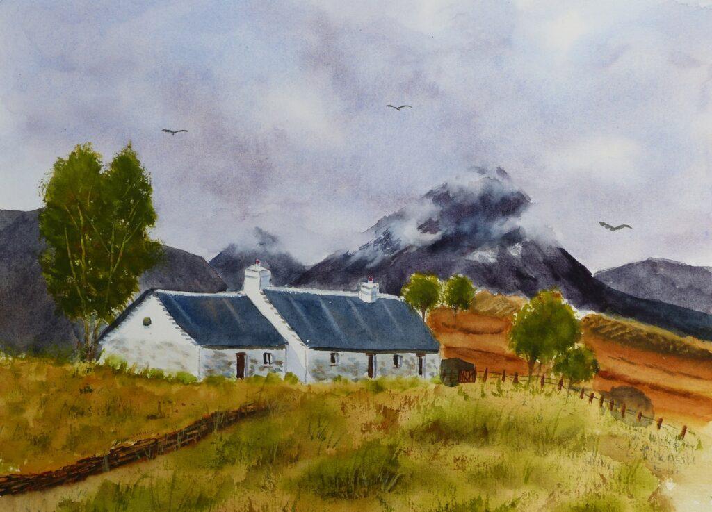 Aquarelle : Black Rocks cottage (Scotland)