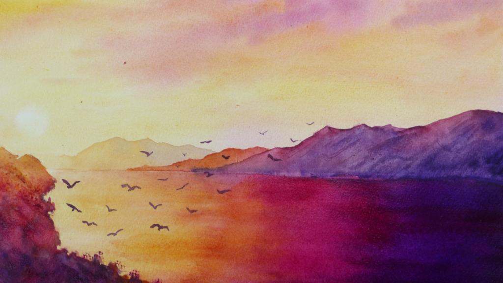 Aquarelle : Coucher de soleil sur la baie