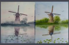 Aquarelle : Moulin , couleurs et atmosphère