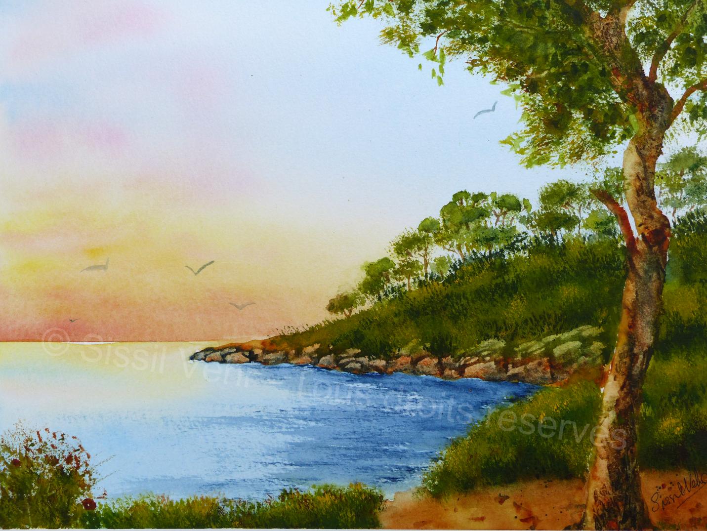 Aquarelle : Paysage méditerranéen , littoral près d'Antibes
