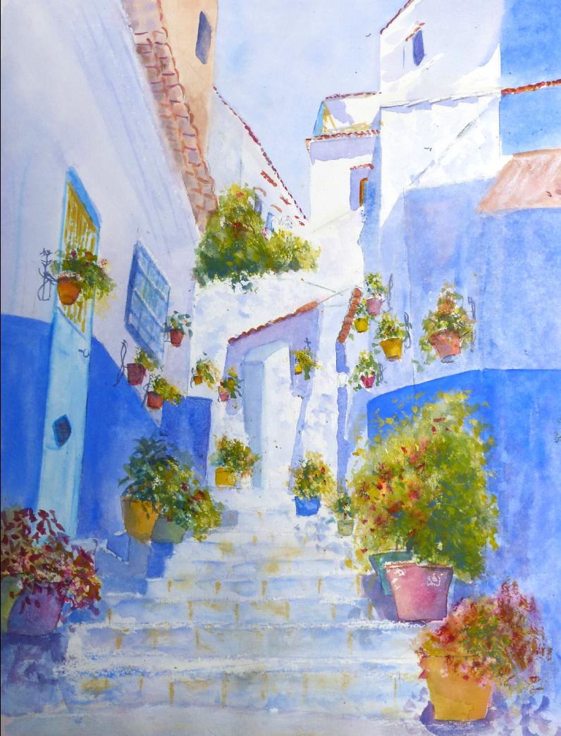 aquarelle : Chefchaouen la ville bleue