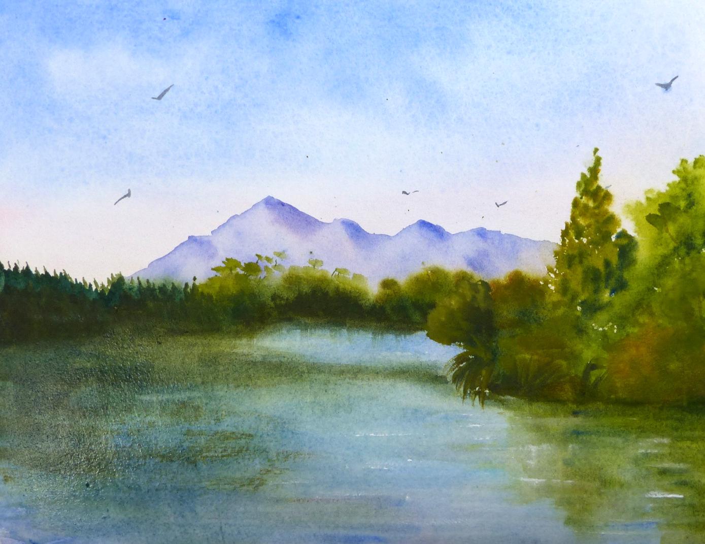 Aquarelle : au bord du lac