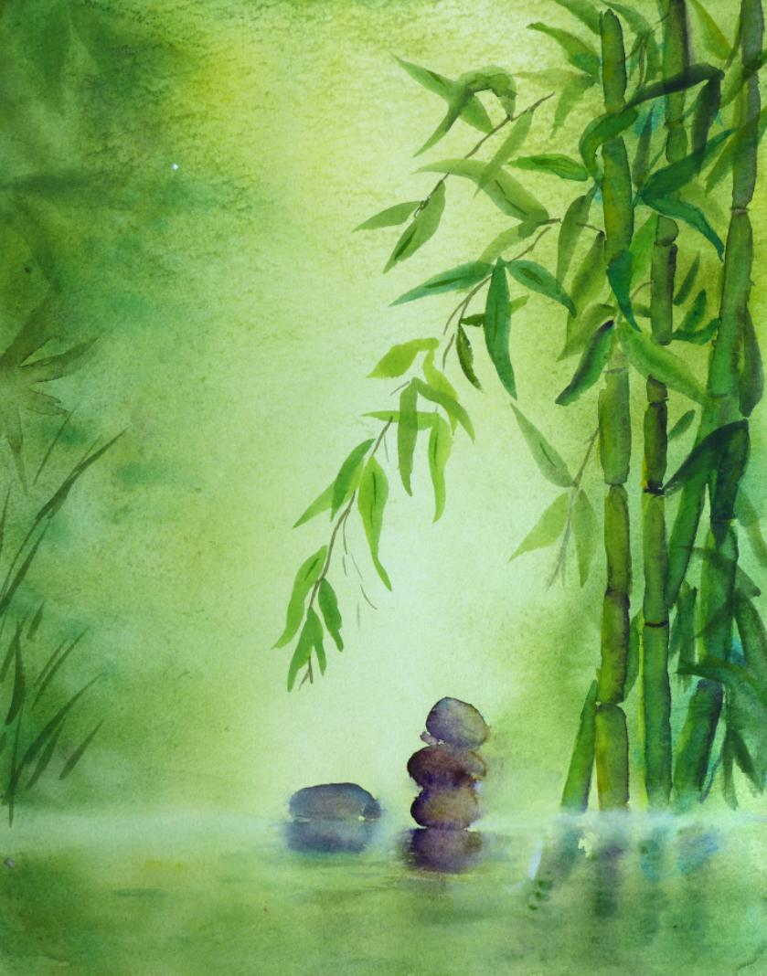 Aquarelle : Zen bambou
