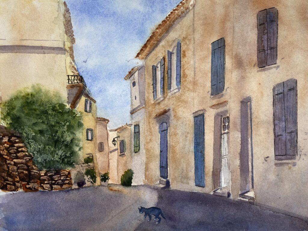 aquarelle : Rue de village