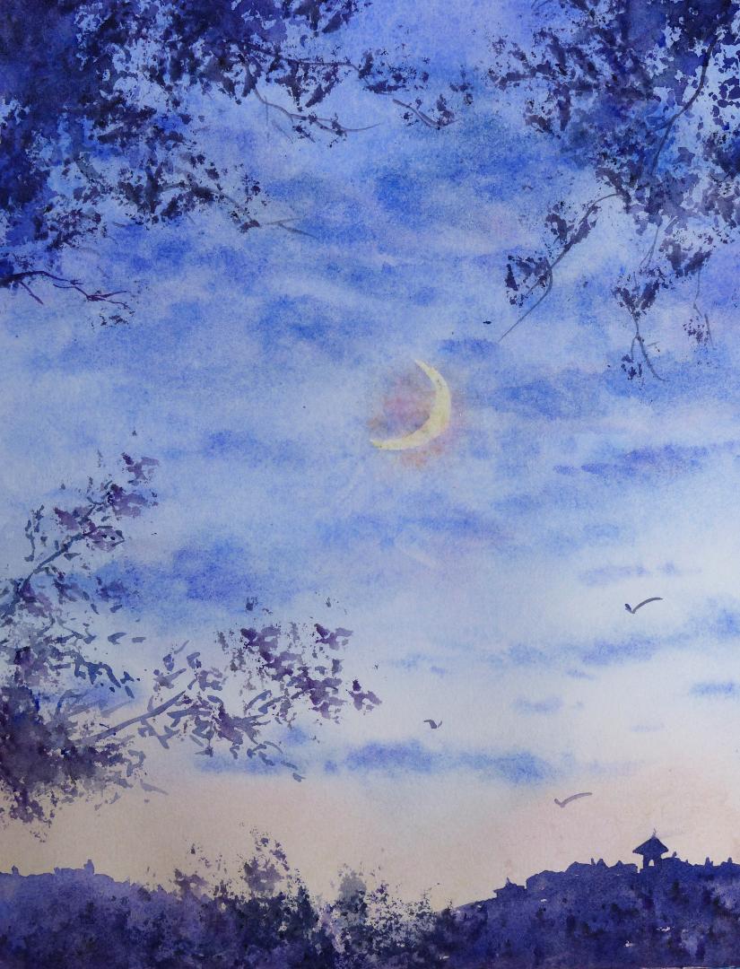 aquarelle : à la tombée de la nuit